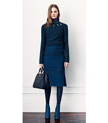 Turtleneck sweater, flared pencil skirt, navy tights &  booties from Tori Burch