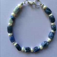 "Pretty Sodalite and Natural Sea Pearls Bracelet Pretty Handmade Sodalite and Natural Sea Pearl Bracelet 7 1/2"" long Handmade  Jewelry Bracelets"
