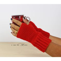 Fingerless gloves, women's gloves, wool gloves, crochet gloves, red... ($12) via Polyvore featuring accessories, gloves, wool gloves, christmas gloves, woolen gloves, wool arm warmers and crochet gloves