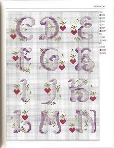 Cross stitch ABC part 1 Monogram Cross Stitch, Mini Cross Stitch, Cross Stitch Alphabet, Cross Stitch Kits, Cross Stitch Charts, Cross Stitch Designs, Embroidery Alphabet, Embroidery Patterns, Stitch Patterns