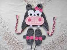 HIppo Crochet Hat and Mitten Set Photo Prop Available in