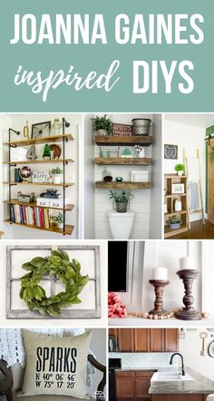 Joanna Gaines inspired DIY projects with farmhouse home decor style | If you love fixer upper style decor, you're going to love these farmhouse DIYs | Ideas include pipe shelving, farmhouse bathroom with shiplap wall, blanket ladder, magnolia wreath, farmhouse candlesticks, farmhouse pillow, concrete countertops, white subway tile backsplash, wood shim barn door and more!!