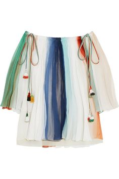 CHLOÉ Off-The-Shoulder Striped Silk-Georgette Top. #chloé #cloth #tops