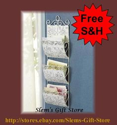 LETTER ORGANIZER HANGING DISTRESSED SHABBY WHITE CHIC SCROLL SWIRL FLOWER DESIGN $24.95 Free Shipping   http://stores.ebay.com/Slems-Gift-Store  *OR* order directly from me at dslem3@yahoo.com and receive 20% off any item in the store!
