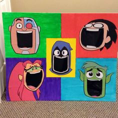 Meatball toss board..... I printed the faces, traced them onto the foam board (from Hobby Lobby), cut out the mouths, then painted the squares.  Glue on the faces, and Voila!  I placed a black plastic tablecloth (from the dollar store) behind it for the empty mouth look.