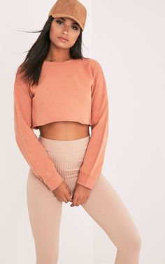 Beau Deep Peach Cut Off Crop Longsleeve Sweater - Tops - PrettylittleThing US   PrettyLittleThing.com