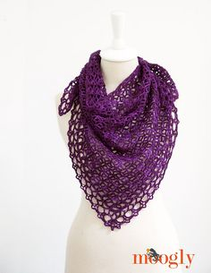 Light and Lacey, Fortune's Shawlette by Tamara Kelly.  Crochet one in our Soft Embrace 4-Ply. http://international.elann.com/product/elann-soft-embrace-4-ply-yarn-10-ball-bag/
