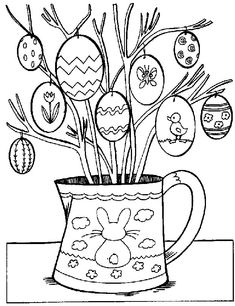 Easter egg tree color page. Holiday coloring pages and Seasonal coloring pages. Coloring pages for kids. Thousands of free printable coloring pages for kids! Easter Coloring Pictures, Easter Egg Coloring Pages, Tree Coloring Page, Coloring Pages For Kids, Coloring Books, Kids Coloring, Free Coloring, Coloring Sheets, Egg Tree