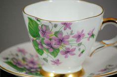 Royal Windsor Fine Bone China Purple Violets Tea Cup And Saucer #RoyalWindsor
