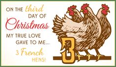 Free 3 French Hens eCard - eMail Free Personalized Christmas Cards Online