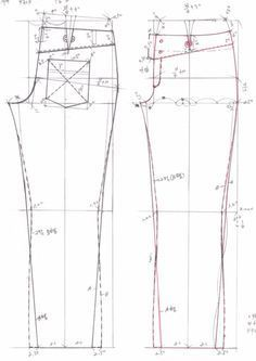 drafting jeans pattern from…Sator Arepo uploaded this image to 'New/New See the album . Sewing Patterns Free, Clothing Patterns, Sewing Tutorials, Sewing Projects, Sewing Pants, Sewing Clothes, Pattern Cutting, Pattern Making, Patterned Jeans