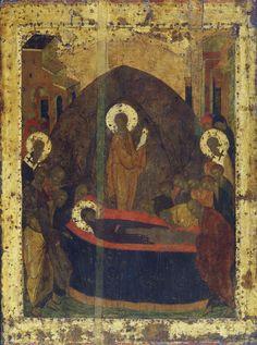 Праздничный чин (Троицкий собор, Троице-Сергиева лавра) (1425-1427) (Мастерская Рублёва) 19. Успение Богоматери (88 х 66 см)