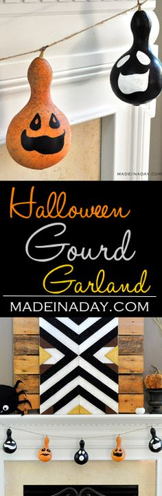 Halloween Gourd Garland, painted gourd for Halloween decor, Gourd banner, black gourd, gourd Jack O'Lanterns, Halloween decorations, easy craft, DIY, paint  via @madeinaday