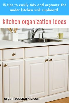 15 Top Inspirational products and DIY under sink storage ideas for a well organized space to be proud of. How to store kitchen sink sponges, cleaning cloths and cleaning materials. How to maximize space in a tiny kitchen by decluttering and organizing the under kitchen sink cabinet. Best home storage organization products for the kitchen. #cupboardsorganization #kitchenstorage #underkitchensinkorganization #kitchenorganization Under Kitchen Sink Organization, Under Kitchen Sinks, Kitchen Cupboard Storage, Under Sink Storage, Storage Organization, Storage Ideas, Organizing, Kitchen Cabinets On A Budget, Kitchen Cupboards