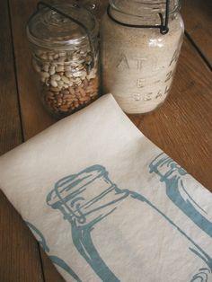 Tea Towel - Organic Linen Kitchen Towel -  Mason Jars - Hand Screen Printed Dish Towel - Hostess Gift