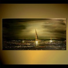 Olive Green Seascape Painting Original Abstract by OsnatFineArt
