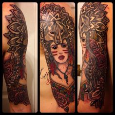 Half Sleeve, Girl With Wolf Hat #tattoos