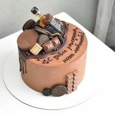 25th Birthday Cakes, Birthday Cake For Him, Cake Decorating Techniques, Cake Decorating Tips, Birthday Cake For Women Simple, Cake For Boyfriend, Chocolate Cake Designs, Buttercream Cake Designs, Alcohol Cake