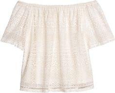 H&M H&M+ Lace Off-the-shoulder Top - White - Ladies