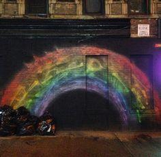 Rainbow in NYC streets Nyc Streets, Northern Lights, Rain Bow, Graffiti, Nature, Travel, Art, Art Background, Naturaleza