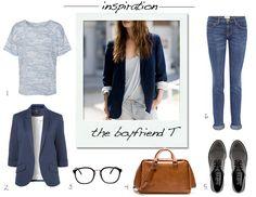 The Boyfriend T1. StyleMint Kyle T2. Topshop Blazer 3. American Apparel Optical  4. Zara Handbag5. ASOS Brogues  6. Current/Elliott Jeans