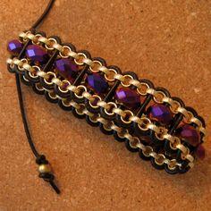 Leather Wrap Bracelet - Chain Bracelet - Crystal and Leather Bracelet - Link Bracelet by GlassMystique on Etsy