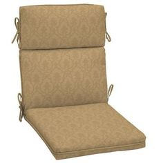 Hampton Bay Bellagio Tan Solid Outdoor Dining Chair Cushion - The Home Depot