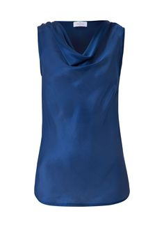 Silk top in dark blue buy online on Elégance