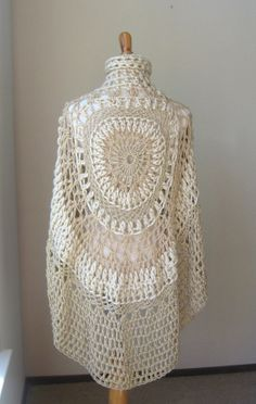 BEIGE CIRCLE PONCHO Crochet Knit Capelet Turtleneck by marianavail