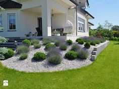 Modern Landscaping, Outdoor Landscaping, Front Yard Landscaping, Outdoor Gardens, Front Garden Landscape, House Landscape, Front Yard Design, Sloped Garden, Patio Makeover