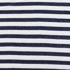 Denim Blue and White Stripe Cotton Jersey Knit Fabric