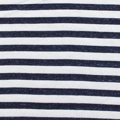 Denim Blue and White Stripe Cotton Jersey Knit Fabric