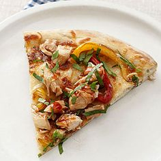 Barbecue Chicken Pizza    Get delicious barbecue flavor—plus some vitamin C-packed veggies—with this simple pizza. Buying store-bought dough saves time, but be sure to get the whole-wheat variety to bulk up on fiber. For extra zest, add a few red onions.