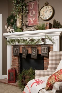 Wish everyone joy and happiness every time they enter your living room!  How inspiring and festive is this rustic/vintage holiday mantel display?