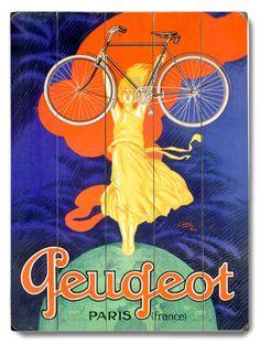 Peugeot Bicycle Paris Wood Sign