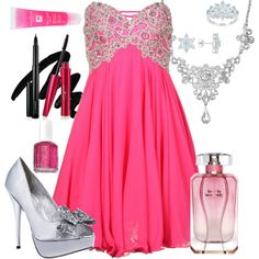 A fashion look from May 2012 featuring embroidered prom dress, silver heel pumps and vintage chain necklace. Browse and shop related looks. Woman Dresses, Virtual Closet, Formal Dress, Trials, Pretty Outfits, Dancing, Short Dresses, Hollywood, Fancy