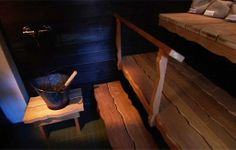 I love the rough hewn look of the planks for the sauna benches. Outdoor Sauna, Beautiful Bathrooms, Cottage, Lifestyle, Inspiration, Planks, Spas, Benches, Villa