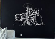 Drum set decal Drum set Sticker Drums decor Drums Rock Music Rock'n'Roll Let's Rock Heavy Metal Band Wall Art Stickers   tr265