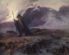 Hermann Hendrich - Odin the Wanderer - Viking Art Wotan, Wodan, Norse Mythology Thor Vintage Painting wall artwork Odin Norse Mythology, Norse Symbols, German Mythology, Richard Wagner, Art Nouveau, Myths & Monsters, Viking Culture, Kiss Art, Social Art