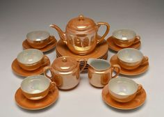 Vintage Noritake Peach Lusterware Tea Set : EBTH