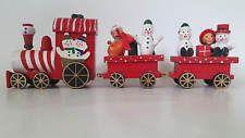 Wooden Red Christmas Decorative Train Ornament Snowman Santa Xmas Tree 25cm NEW