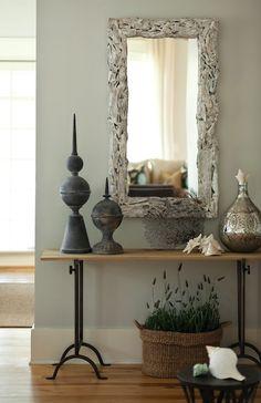 Interior Philosophy - entrances/foyers - Arteriors Bodega Driftwood Mirror, gray, walls, mercury, glass, vase,  Beautiful foyer design with driftwood