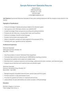 sample retirement specialist resume - Proposal Specialist Sample Resume