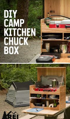 An organized kitchen is the secret to a happy camping trip. This tutorial provides instructions for a do-it-yourself wooden camp kitchen box that'll solve your culinary organizational quandaries. Plus(Camping Hacks Kitchen) Camping Diy, Truck Camping, Camping Survival, Camping Meals, Family Camping, Tent Camping, Camping Hacks, Outdoor Camping, Camping Checklist