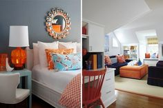 Color pairings with orange: (left) Designed by K Mathiesen Brown Design, Image courtesy of decorpad (right) Image courtesy of New England Home