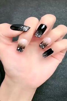 Black Nail Designs, Simple Nail Art Designs, Easy Nail Art, Acrylic Nail Designs, Stiletto Nail Designs, Simple Nail Art Videos, Classy Nails, Stylish Nails, Simple Nails