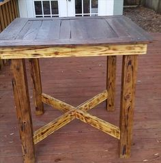 Reclaimed Pallet High Top Dining Table- 58 DIY Pallet Dining Tables | DIY to Make