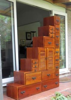 Large Solid Dark Pine Wood Step Chest Apothecary Merchants Chest Drawers  Cabinet