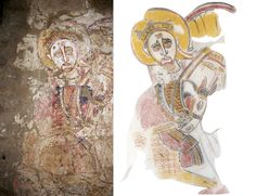 Close-up of a warrior saint, Dongola (13th century).