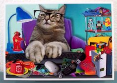 Geek handmade blank photo card by TheAccidentalCat on Etsy, $5.50 ( pet cat tabby promotion graduation Father's Day computer geek nerd science technology job co-worker office Big Bang Theory brother son dad grandpa uncle  )
